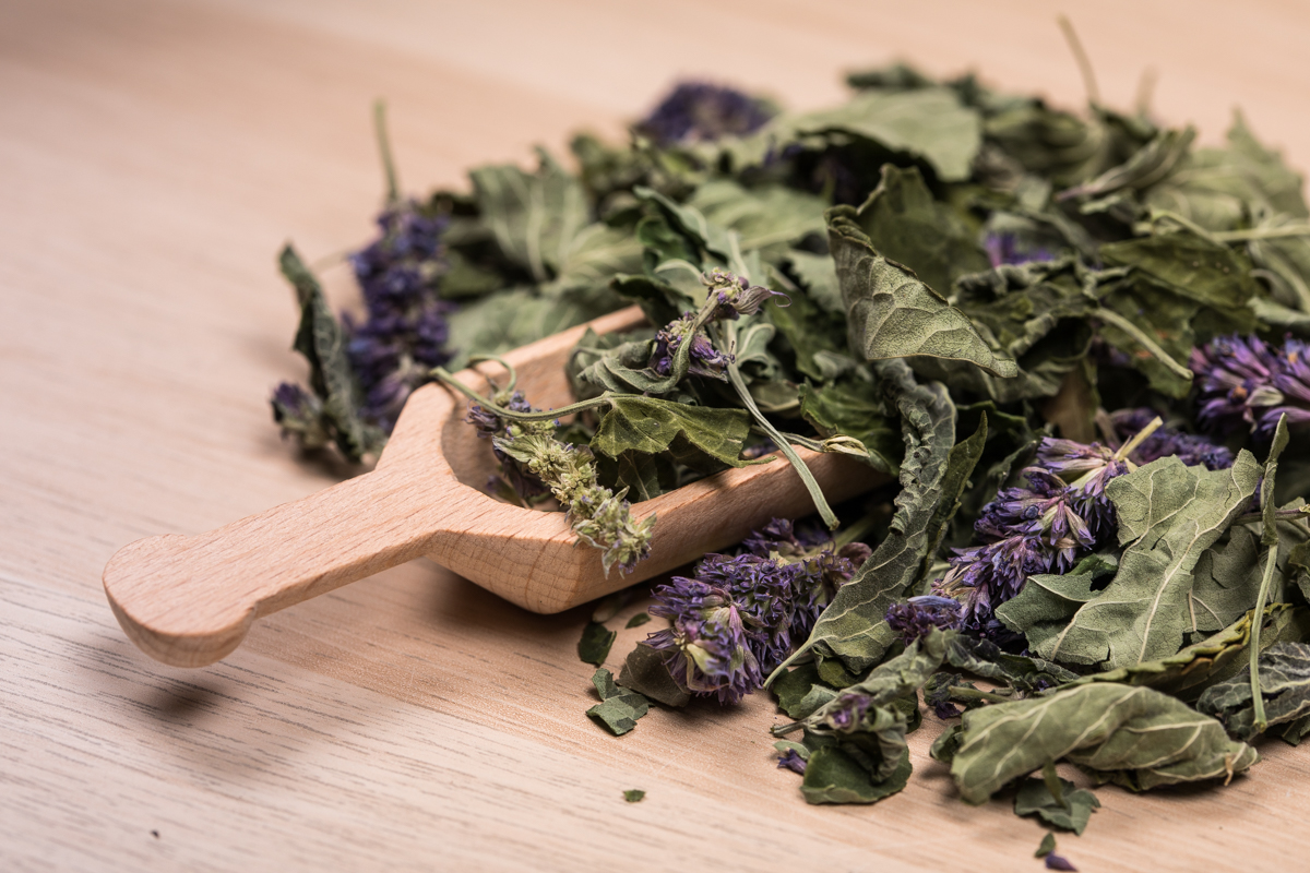 Plante aromatique dans cuillère en bois
